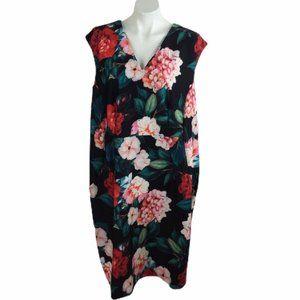 Calvin Klein Sheath Dress Floral Sleeveless V Neck